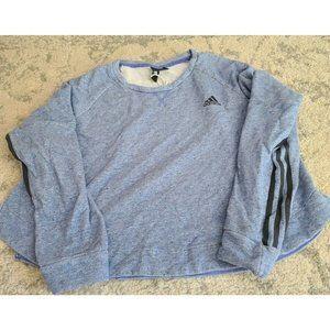Adidas Women LG Long Sleeve blue Crop Sweatshirt